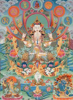The Anthropology of Tibetan Buddhism: Avalokiteshvara (Compassion & Purification Practice; A Short Chenrezig Meditation) Art Buddha, Buddha Kunst, Om Mani Padme Hum, Tibetan Art, Tibetan Buddhism, Buddhist Practices, Buddhist Traditions, Gautama Buddha, Guanyin
