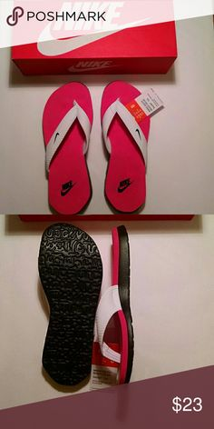 Nike womens South Beach flip flops White/black/pink South Beach flip flops. Brand new, still in the box. NWT. Sz 8 Nike Shoes