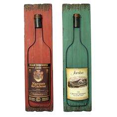 @Overstock - Wall-Mounted Wine Bottles Art Decor (Set of 2) - The colorful pair of wall panels are handcrafted and weathered by expert artisans. This antique-looking wine wall art is ideal to uplift any wall decor.   http://www.overstock.com/Home-Garden/Wall-Mounted-Wine-Bottles-Art-Decor-Set-of-2/8431072/product.html?CID=214117 $135.99