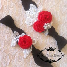 Red/black valentine prom/Wedding/bridal lace shabby Garter KEEPSAKE TOSS w pearl