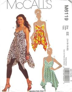 Halter top A or tunics B, C have elasticized back bodice with shoulder strap variations; separate pattern pieces provided for A/B, C, D cup sizes; Purchased leggings.