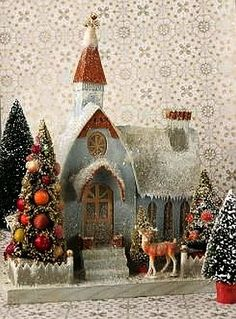 Ideas Vintage Christmas Reindeer Bottle Brush Trees For 2019 Retro Christmas, Christmas Love, Christmas Colors, All Things Christmas, Christmas Glitter, Xmas, Christmas Village Houses, Putz Houses, Christmas Villages