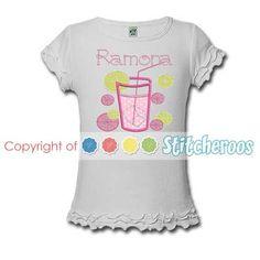 pink lemonade birthday shirt personalized by stitcheroos 21.00