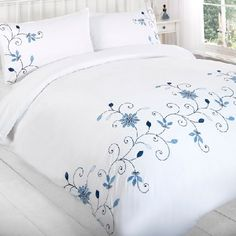 Barton Blue Embroided Duvet and pillowcase set Bedroom Comforter Sets, Linen Bedding, Duvet, Flower Embroidery Designs, Creative Embroidery, Bed Cover Design, Designer Bed Sheets, Bed Scarf, Embroidered Bedding