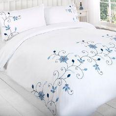 Barton Blue Embroided Duvet and pillowcase set Bedroom Comforter Sets, Linen Bedding, Duvet, Bed Cover Design, Designer Bed Sheets, Bed Scarf, Fabric Paint Designs, Embroidered Bedding, House Furniture Design