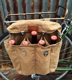 Vintage British Army Bag Beer Pannier by Reclamation Department on Scoutmob Bike Seat Bag, Bicycle Bag, Bicycle Panniers, Bicycle Accessories, British Army, Custom Leather, Bike Life, Refashion, Gadgets