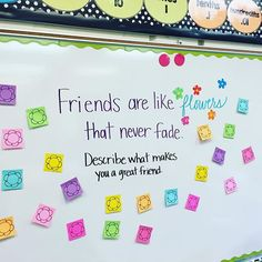 Today I wanted my students to reflect on their own qualities. Describe why you're a good friend in the flower sticky notes. It was tough for a couple and a few felt they were bragging about themselves! Classroom Organization, Classroom Management, Classroom Whiteboard, Classroom Ideas, Teacher Hacks, Morning Board, Friday Morning, Morning Activities, Bell Work