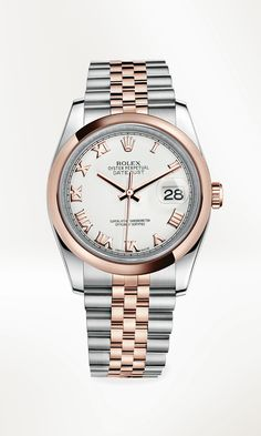 Rolex Datejust 36 in 904L steel and 18 ct Everose gold, with a domed bezel, white dial and Jubilee bracelet.