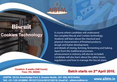 Enroll now for Certificate Course on #Biscuit & #Cookies #Technology. Session starting from April 2 at #AIBTM, Greater Noida. Register now at aibtm@aibtm.in