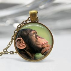 Monkey Necklace The Thinker Chimp by MissingPiecesStudio on Etsy