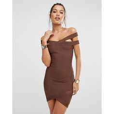 Missguided Premium Bandage Bardot Mini Dress (80 CAD) ❤ liked on Polyvore featuring dresses, brown, mini dress, midi dress, bandage midi dress, short dresses and bandage dress