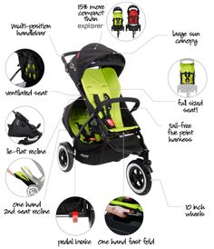 Phil & Teds Dot - their slimmest inline stroller (single or double stroller)