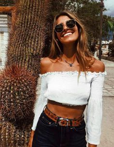 off the shoulder white crop top + jeans & a brown belt