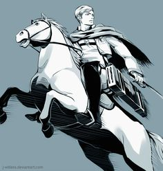 Erwin Smith 進撃の巨人/Attack On Titan/Shingeki No Kyojin Armin, Attack On Titan, Knight On Horse, Connie Springer, Eruri, Levi Ackerman, Dark Fantasy, Horses, Deviantart