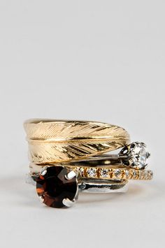Iosselliani Gold Vintage Feather Stacking Rings $251  Drooling, they are so beautiful.