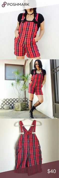 """Grunge plaid cotton overalls by GAP Smells like teen spirit with this red plaid grunge Gap overalls, size XL youth. Fits like a XS for womens jr.  Features adjustable straps, pockets galore (7 total) and button close at sides. Fabric is soft, 100% cotton.  I'll recommend this beaut only for petite gals not taller than 5"""". Measuraments taken across are:   Waist 16""""  Hips: 18"""" Inseam: 11 1/2""""  Total lenght: 35""""   No trades   Retro 90s shortalls onesie jumpsuit patches pastel goth grunge unif…"""
