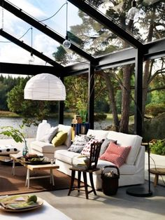 Indoor – Outdoor Living Room.  Oh my! I would never leave my house!