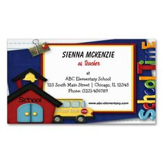 Teacher Elementary School Business Card. I love this design! It is available for customization or ready to buy as is. All you need is to add your business info to this template then place the order. It will ship within 24 hours. Just click the image to make your own!