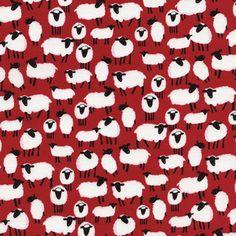 Image of tissu sheeps red #cestdimanche