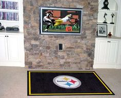 Fanmats Pittsburgh Steelers 4x6 Rug - Red  http://allstarsportsfan.com/product/fanmats-pittsburgh-steelers-4x6-rug/?attribute_pa_color=red  32 oz., 100% Nylon Face Duragon latex backing for a durable and longer-lasting product Machine made in the USA