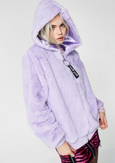 "Sizurp Girl Gang Furry Hoodie 'cuz you're divine n' feminine as fucq. This furry zip-up hoodie is super soft with pockets and an o-ring detail that says ""girl gang"" in G'd out white letters."