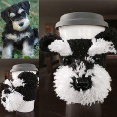 Schnauzer Mug Cozy, Dog Mug Cozy, Dog Cup, Dog Coffee Sleeve by HookedbyAngel on Etsy https://www.etsy.com/listing/234827858/schnauzer-mug-cozy-dog-mug-cozy-dog-cup