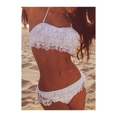 Haltered White Lace Decorated Two Piece Bikini ($21) ❤ liked on Polyvore featuring swimwear, bikinis, swimsuits, bathing suits, bikini, tops, white, white bathing suit, swimsuits bikinis and two piece bathing suits