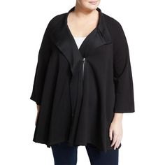 P. Luca Plus Asymmetric Zip Flare Jacket (150 CAD) ❤ liked on Polyvore featuring plus size women's fashion, plus size clothing, plus size outerwear, plus size jackets, black, asymmetrical zip jacket, asymmetrical jacket, pocket jacket, flared jacket and oversized jacket