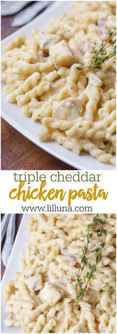 Cheddar Chicken and Pasta Triple Cheddar Chicken Pasta - this creamy, cheesy pasta dish is simple and will be a hit with the entire family!Triple Cheddar Chicken Pasta - this creamy, cheesy pasta dish is simple and will be a hit with the entire family! Pasta Recipes Video, Pastas Recipes, Chicken Pasta Recipes, Top Recipes, Dinner Recipes, Cooking Recipes, Healthy Recipes, Pasta Dishes With Chicken, Recipies