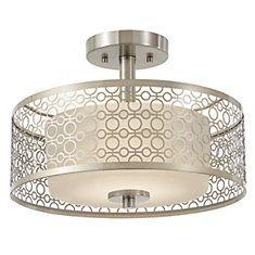 Collection Toberon - Semi -plafonnier DEL à une  lumière en fini nickel brossé
