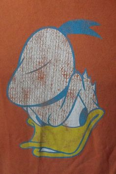 fc893d2a9a9 Retro Donald Duck Grumpy Disney Character T-Shirt M Medium Orange Crew Neck  Tee
