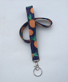 Lanyard  ID Badge Holder  navy pineapples   Lobster by Laa766  preppy / fabric / cute / patterns / key chain / office, nurse, student id, badge / key leash / gifts / key ring / #EtsyGifts