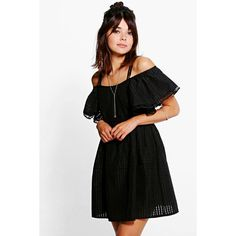 Boohoo Rosie Woven Mesh Frill Sleeve Skater Dress ($40) ❤ liked on Polyvore featuring dresses, black, slip dress, skater dress, mesh dress, mesh bodycon dress and maxi dresses