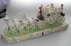 Vintage Irish Dresden Porcelain Carriage Large Figurine♥♥♥