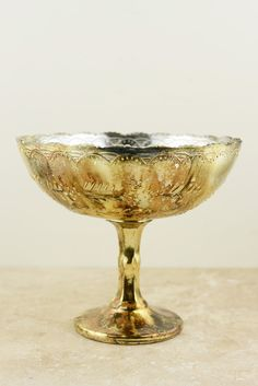 I like the shape of these, open to suggestions.  Glass Compote Desiray 8x7in Gold