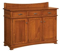 Amish Ethans Mission Buffet with Three Wood Doors and Three Drawers with Quarter Sawn White Oak The Ethans Mission Buffet is a best selling, solid wood buffet. Charming, solid and special, it's customized in Amish country in the wood and stain you select. #buffet #woodfurniture #diningroom