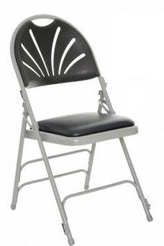 Comfort Plus Folding Chair Grey Frame Charcoal Vinyl