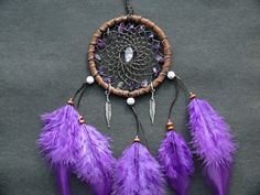 Amethyst dreamcatcher rear view mirror charm by DeiDreamCatchers