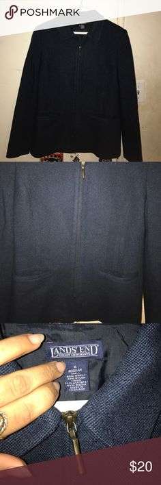 Lands end navy zip up blazer A very cute navy lands end blazer 80% wool in great condition perfect for work or for casual wear too taking offers Lands' End Jackets & Coats Blazers