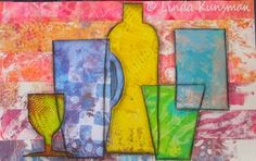 Linda Kunsman - Heartfully Inspired Blog  Once happy with it I glued down the (gelli printed) pieces and lined them with a charcoal pencil. And this is the finished result: