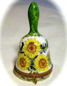 Limoges France French Signed Sunflower Bell Trinket Box Pill Peint Main Limoge