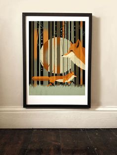 Midnight Foxes Graphic Print by EAST END PRINTS, the perfect gift for Explore more unique gifts in our curated marketplace. Cool Wall Art, Moon Illustration, British Wildlife, Autumn Forest, Graphic Prints, Digital Prints, Fine Art Prints, Sparkling Stars, Colours