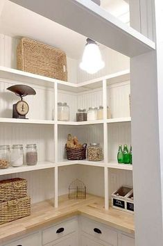 To make the pantry more organized you need proper kitchen pantry shelving. There is a lot of pantry shelving ideas. Here we listed some to inspire you Pantry Shelving, Pantry Storage, Corner Pantry Organization, Storage Room, Shelving Ideas, Furniture Storage, Diy Storage, Kitchen Storage, Furniture Design