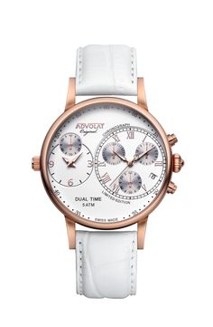 ADVOLAT CAPITAINE Dual Time, Stainless Steel Casing IP rose gold, Face white/rose, Leather Bracelet white, Ref. 88001/1RG-L1 Stainless Steel Bracelet, Stainless Steel Case, Fort Knox, Limited Edition Watches, Time Zones, Italian Leather, Chronograph, Gold Face, Rose Gold