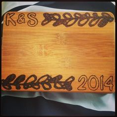 Giving this personalized Cutting Board as a bridal shower gift! #darbysmart #diy #crafty #bridal #woodburning