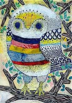 'Colorful Owl' by Kanae Kohno | Bird Whimsy