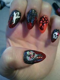 Black w/blood tips and designs