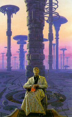 "Isaac Asimov, ""Foundation"" Cover by Michael Whelan Arte Sci Fi, Art Science Fiction, Science Art, Asimov Foundation, Foundation Series, Rpg Cyberpunk, 70s Sci Fi Art, New Retro Wave, Futuristic City"