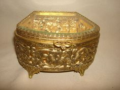"Vintage FANCY FILIGREE Gold Plated ORMOLU & Beveled Glass Lid Jewelry Casket Box ~ Fan Shape ~ (5"" x 4"" x 3"" high) by PastPossessionsOnly on Etsy"