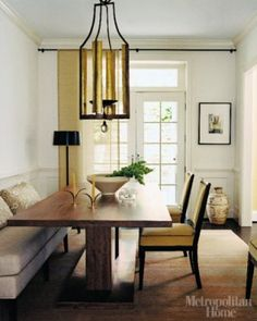 sofa used as banquette in dining room | here are some photos of the banquette look done so very right. bon ...